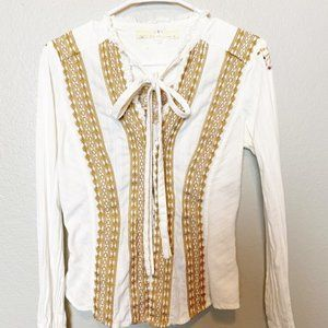 Johnny Was Embroidered Western Button Down Small